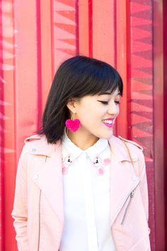 DIY Heart Pom Pom Earrings
