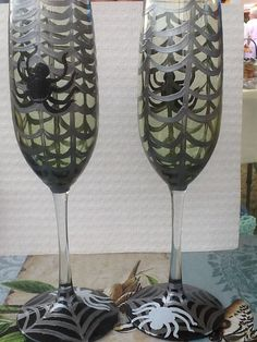 Spider Web Champagne Flutes Glasses Hand by FunctionalyEnchanted, $20.00