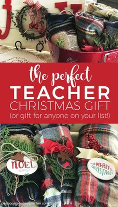 The Perfect Teacher Christmas Gift! If you struggle to find inexpensive but stil. The Perfect Teacher Christmas Gift! If you struggle to find inexpensive but still valuable gifts for everyone on your list check out this affordable and easy gift idea! Inexpensive Christmas Gifts, Christmas Gift Baskets, Teacher Christmas Gifts, Christmas Gifts For Friends, Homemade Christmas Gifts, Holiday Gifts, Christmas Presents For Teachers, Christmas Holidays, Simple Christmas Gifts