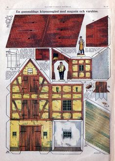 SWEDISH En gammaldags köpmansgärd med magasin och varuhiss ENGLISH An old-fashioned merchant token with warehouses and freight elevator GERMAN Fachwerkhaus = Timber-frame House