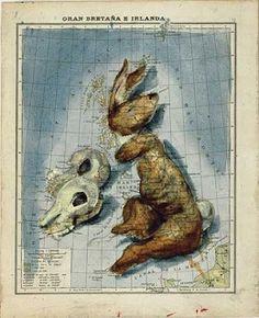 Spanish illustrator Fernando Sanchez' version of an Atlas Antique Maps, Vintage World Maps, Map Of Great Britain, Fernando Sanchez, Mental Map, Art Carte, Symbolic Representation, Map Painting, Map Globe