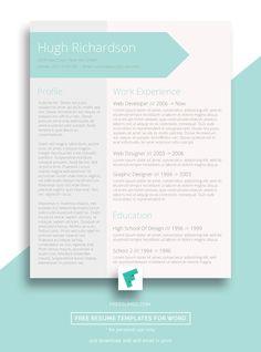 Free Turquoise Resume CV Template – Greenish Blue #free #cv #design