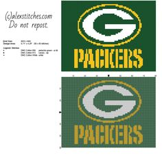 Green Bay Packers National Football League NFL team logo free cross stitch pattern size 80 x 60