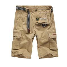 a0381855d74db Loose Cotton Men Cargo Shorts Bermuda Office Work Fashion Casual Short Men  Camo Multi-pockets Military