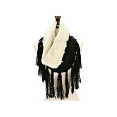 Black Fleece Lined Cable Knit Tassel Trim Infinity Scarf