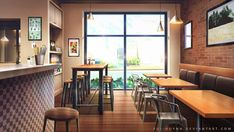 Coffee Shop by Vui-Huynh on DeviantArt Anime Backgrounds Wallpapers, Anime Scenery Wallpaper, Wallpaper Iphone Cute, Animes Wallpapers, Scenery Background, Living Room Background, Editing Background, 2d Game Background, Episode Interactive Backgrounds