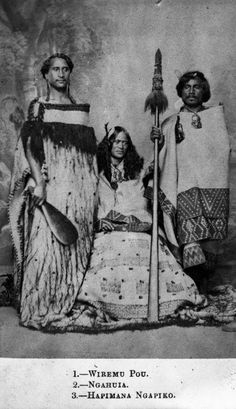 Heath, Vernon, 1819 or 1820-1895 :Portrait of Wiremu Pou, Ngahuia and Hapimana Ngapiko  A portrait of Wiremu Pou, Huria Ngahuia and Hapimana Ngapiko taken by Vernon Heath, a London photographer.