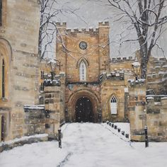 Durham Castle Gatehouse by Linda Vine — Linda Vine Art Durham Castle, Durham City, Durham University, Gate House, Snow Scenes, Has Gone, Vines, Original Art, New Homes