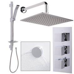 £281.75 EcoCube Triple Shower with Morgen 25cm Head Quadro Slide Rail and Overflow Filler