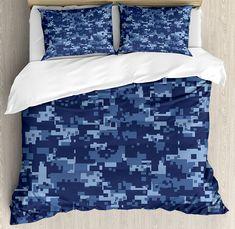 MODERN CAMO CAMOUFLAGE ARMY BLUE GREY BROWN BOY SOFT QUILT COMFORTER SET PILLOW