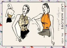 Vintage Sewing Pattern 1940s 40s 2 Way Halter Buttons & Pussycat Bows small - medium Lady Marlowe 4104