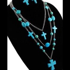 Cross Necklace and Earrings Turquoise and silver triple strand with matching earrings Jewelry Earrings