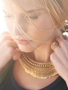 Gold fringe collar