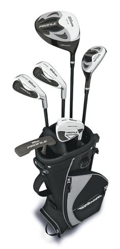 Wilson Boy's Profile 10-13 Complete Golf Package Set, Black, Large (Right Hand, Steel, Junior, D, H, 2 Irons, Wedge, Putter) - Featuring 9 options- with lengths, lofts, flexess, bags, and grip size to more perfectly fit beginner golfers and their unique physical characteristics. Designed for ages 10-13, perfect for junior boys learning the game.