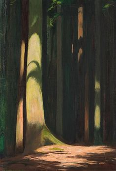 Hans Emmenegger (Swiss, 1866-1940), Waldbild, Forest image, 1934, oil on canvas, 44 x 30 cm