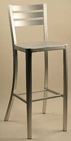 """Alston Quality 24"""" Diana Aluminum Counter Stool by Alston Quality. $135.00. Alston Quality 24"""" Diana Aluminum Counter Stool (AL3637-7BS-24)Sharp, clean ladder design and outdoor durability define the Alston 24"""" Diana Brushed Aluminum Counter Stool. This stool is very lightweight and the molded seat and back add surprising comfort making it an ideal choice for your patio, outdoor cafe or indoor bar."""