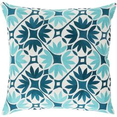 """The Floral Geo Pillow 18""""x18"""" is made from 100% Polyester, in a beautiful shades of taupe, aqua & ivory. It will look lovely with your coastal decor and suitable for indoors or outdoors.Made to order - one week lead time."""