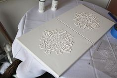 Craft-O-Maniac: Featured Guest Post- Our Mini Family {Damask Puffy Paint Canvas Art} Damask Decor, Damask Wall, Damask Stencil, Stencil Painting, Fabric Painting, Homemade Puffy Paint, Wall Canvas, Wall Art, Mini Canvas