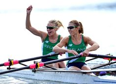 Claire Lambe and Sinead Lynch of Irleand celebrate after the women's rowing lightweight sculls in the Rio 2016 Summer Olympic Games at Lagoa Stadium.     -  Best images from Aug. 11 at the Rio Olympics