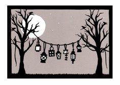 Lanterns - 5 x 7 inch Cut Paper Art Print - DIY and Crafts 2019 Kirigami, Paper Cutting, Diy Paper, Paper Crafts, October Crafts, Diy And Crafts, Arts And Crafts, Papier Diy, Paper Lanterns