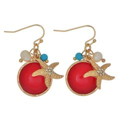 """Gold tone 1 1/4"""" fishhook style earrings featuring a crystal clear rhinestone studded starfish with a red tone faceted round shape cabochon accented by small turquoise and ivory pearl beads.."""