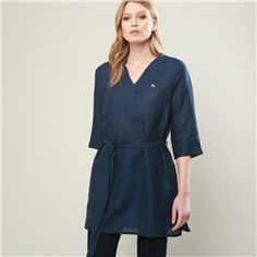 A relaxed linen tunic in a timeless navy. Also available in other colours. Tweed Coat, Linen Tunic, Donegal, Knitwear, Cashmere, Women Wear, Dresses For Work, Colours, Silk