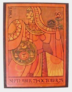 Vintage Zodiac Poster // Zodiac Astrology Artwork // Wooden Wall Hanging OKA // Libra Art September 23 - October 23