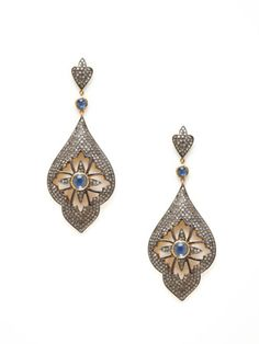 Black Scott diamond and sapphire floral cutout earrings.  Can I find some fake ones???