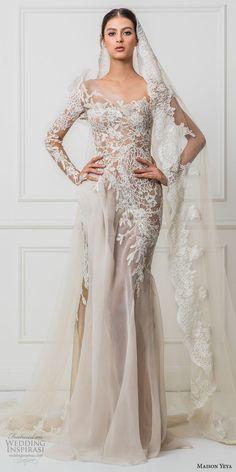 Maison Yeya 2017 bridal one side long sleeves heavily embroidered bodice elegant glamorous lace sheath wedding dress illusion lace back sweep train (3) mv #wedding #bridal #lace