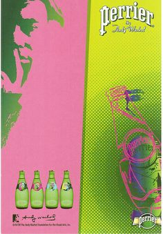 Perrier by Andy Warhol - Advertisement card for Perrier water in bottles with Andy Warhol's art.  Sent by mail artist friend in Korea.
