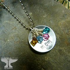 Mom Personalized Birthstone Necklace - Hand Stamped Metal Jewelry - Mother's Day - 4 Birthstone Swarovski Crystal Necklace - for Her