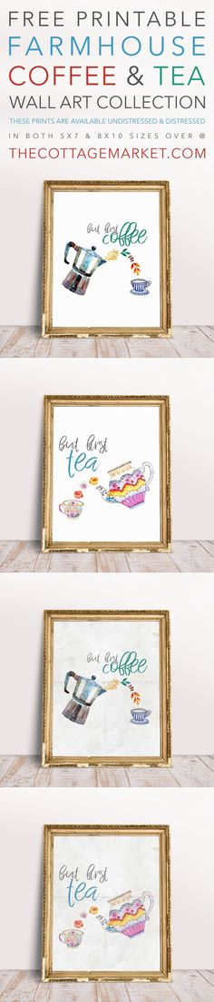 Guess what today is? It is Free Printable Friday and today we have wonderful collection of wall art for you! This Free Printable Coffee and Tea Wall Art Collection will make an amazing addition to your home decor! Available un-distressed and distresse Unique Home Decor, Diy Home Decor, Farmhouse Wall Art, Farmhouse Decor, Rustic Decor, Sweet Home, Diy Wall Art, Wall Decor, Room Decor