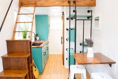This is the Nash Tiny House built by Modern Tiny Living in Ohio! It's a tiny home on wheels that you can vacation in near Nashville, Tennessee. Come check it out inside! Tiny House Nation, Tiny House Trailer, Tiny House On Wheels, Modern Tiny House, Tiny House Living, Tiny House Design, Modern Homes, Small Living, Tiny House Movement