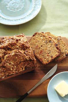 This quick bread, chock-full of carrots, raisins, coconut, walnuts and banana, is great to have on the counter for a quick breakfast fix.