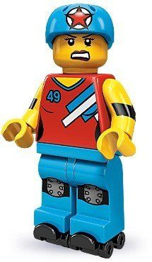 LEGO Collectible Minifigures Series 9 - 71000 - Roller Derby Girl - New Roller Derby Girls, Rollers, Lego Penguin, Lego Faces, Bios, Lego Girls, Lego Minifigs, Minifigures, Sports