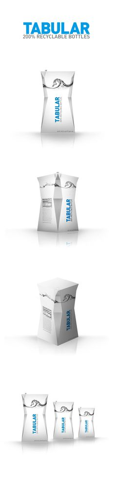 Tabular - 200% Recyclable Water Bottles by Drew Rios, via Behance *** 2nd place winner for IoPP's first Package design competition.