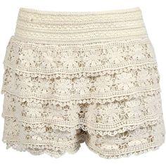 Boohoo Tasha Crochet Shorts ($10) ❤ liked on Polyvore featuring shorts, bottoms, pants, basketball shorts, crochet shorts and cotton shorts