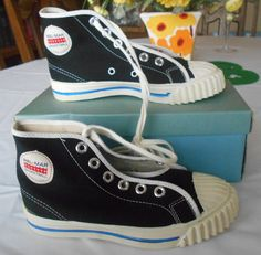 85557809e825e9 Vintage 1950 s Boys Black Canvas Bel-Mar High Top Sneakers ~ Tennis Gym  Shoes ~ Sz 11.5 ~ NEW IN BOX Dead Stock