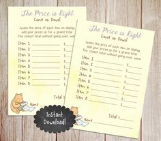 Price is Right, Printable Winnie the Pooh Baby Shower Game, Classic Winnie the Pooh, Baby Shower Game