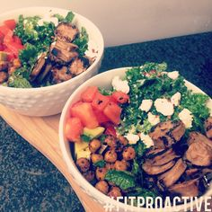 Kale, chickpea, tomatoes, goat cheese, avocado  and chicken sausage salad in a lemon Greek yogurt vinaigrette