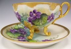 Exceptional Antique Unmarked French Limoges Hand Painted VIOLETS Cup and Saucer RARE MOLDING Footed Ornate Roman Gold French Floral Art Tea Cup circa 1900