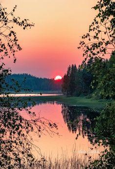 ***Summer sunset (Finland) by Asko Kuittinen // Kesän auringonlasku (Suomi) ss. Beautiful Nature Pictures, Beautiful Landscapes, Beautiful World, Beautiful Places, Amazing Nature, Landscape Art, Landscape Paintings, Landscape Photography, Nature Photography
