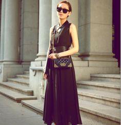 2014 New Bohemian Style V Collar Large Lap Belted Dress Black $14.51