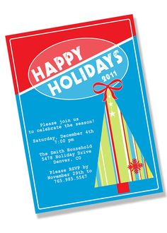 Throw a vintage holiday party this year with these retro red, white, blue and green invitations! MEMBER - Green Beansie
