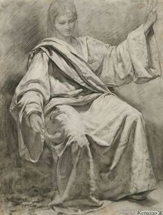 "Gilberto Geraldo | Drapery Study of Tucks | Charcoal on colored paper | 70 cm x 55 cm (27.56"" x 21.65"") 