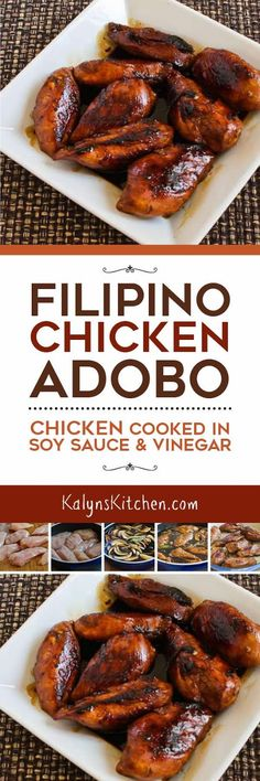 This is my take on Chicken Adobo (Chicken Cooked in Soy Sauce and Vinegar) which is the national dish of the Phillipines, and this tasty chicken is low-carb, Keto, low-glycemic, gluten-free (with gluten-free soy sauce), dairy-free, and South Beach Diet friendly. [found on KalynsKitchen.com. #LowCarb #Keto #LowGlycemic #GlutenFree #ChickenRecipe