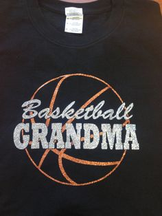Sparkly BASKETBALL GRANDMA sparkly glitter tee by RiverImprints