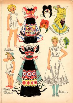 Little Faces From Far Places (Slavic Children paper dolls: Katica, Juliska, & Maria Theresa) by Julia Nordell, G. Putnam, 1933 of All Paper, Paper Art, Paper Crafts, Cardboard Crafts, Usa Culture, Vintage Playmates, Missing Missy, Effanbee Dolls, Kawaii Doodles