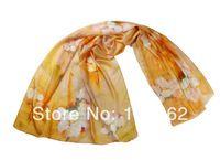 fashion women summer spring hijab 100% silk georgette infinity a Scarf pashmina Women Wrap Shawl floral Scarves 81*196cm yellow