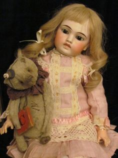 """Dainty Dropped Waist Classic Dress fits 15""""-16"""" Antique French bebe or German Doll"""